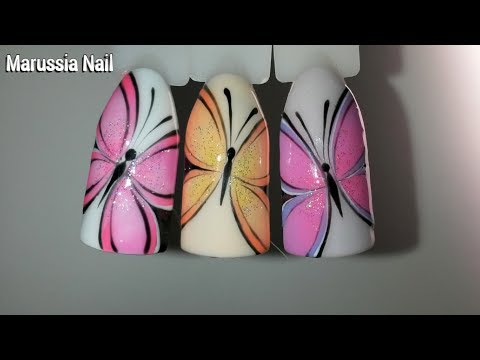 Видеоурок бабочка на ногтях