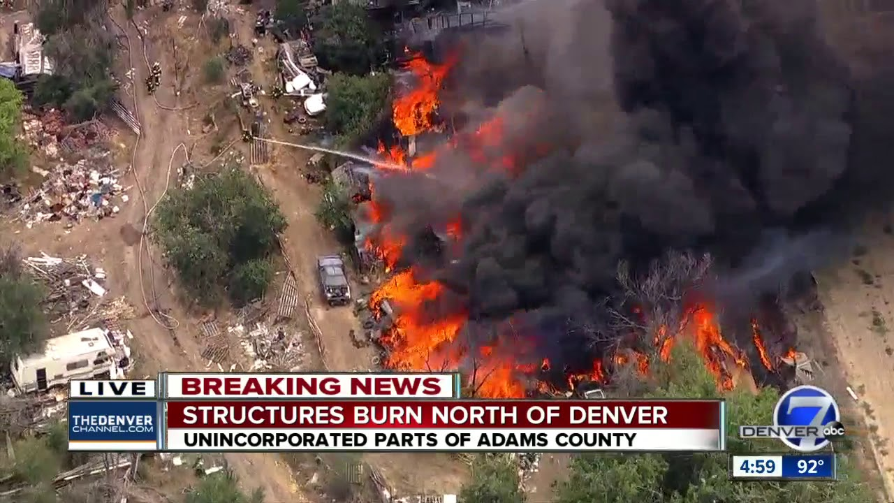 Large fire burning in Adams County near Commerce City