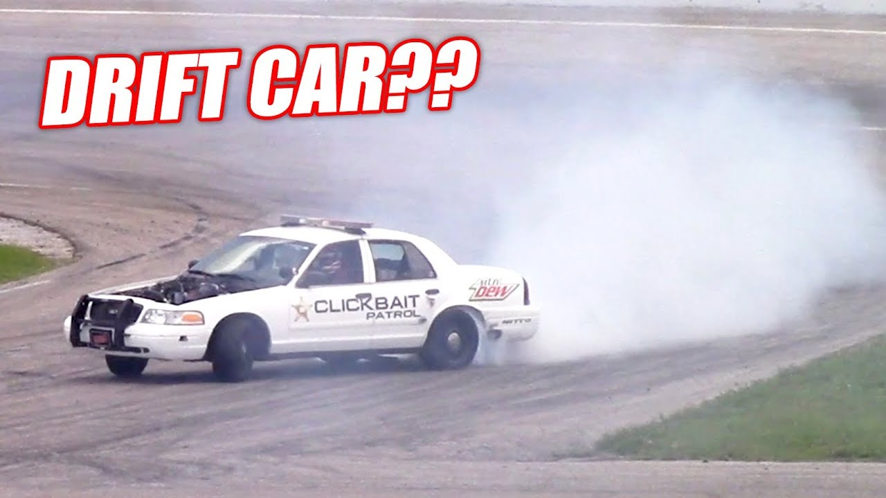 Attempting to Drift Our 900hp Retired Cop Car! +James' Wedding Burnout!