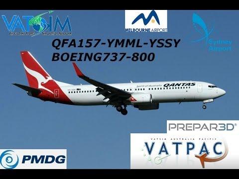 P3D VATSIM QFA157-YMML-YSSY PMDG B737-800