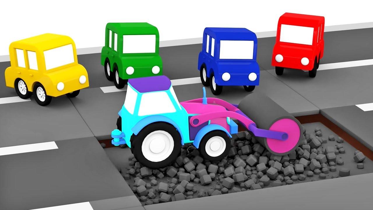 Dessins animés en français. 4 petites voitures. TOP-4 des épisodes sur la réparation des routes