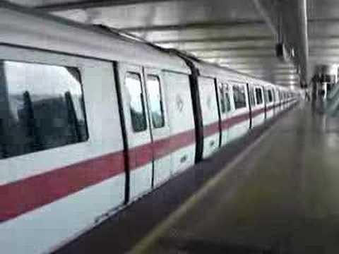 Singapore MRT train departs