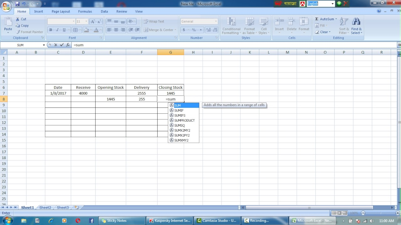 excel inventory sheet youtube
