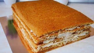 МЕДОВИК Медовый торт БЕЗ РАСКАТКИ коржей Рецепт КРЕМА ПЛОМБИР крем для промазки коржей