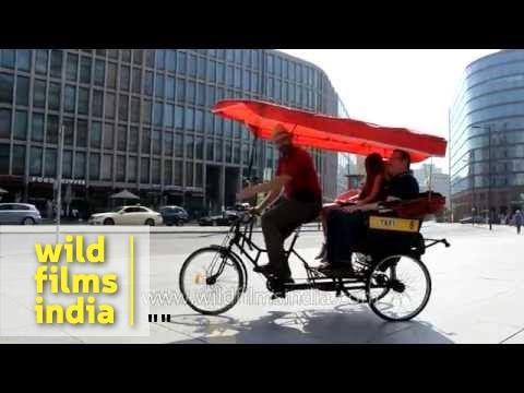 Manual cycle rickshaws at Potsdamer Platz in Berlin, Germany