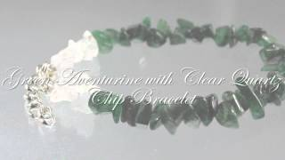Green Aventurine with Clear Quartz Chip Bracelet- Reiki Attuned Healing Bracelet