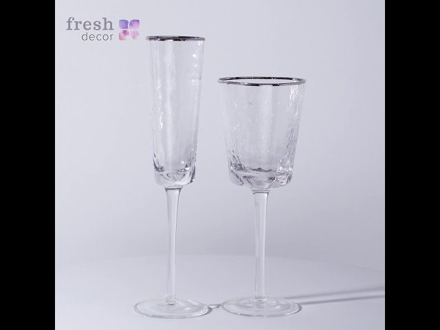 Набор бокалов из прозрачного морозного стекла для вина и шампанского с серебряным кантом