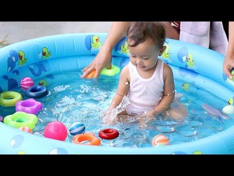 unboxing mainan anak bayi lucu - kolam renang mandi bayi bundar - baby swimming pool and kids