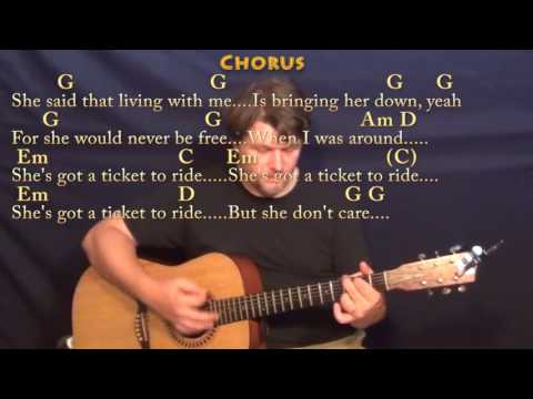 Ticket to Ride (The Beatles) Strum Guitar Cover Lesson in G with Chords/Lyrics