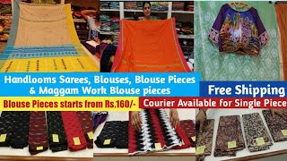 Hyderabad Boutique Styles Unique Handloom Sarees, Blouses & Blouse pieces || Free Shipping