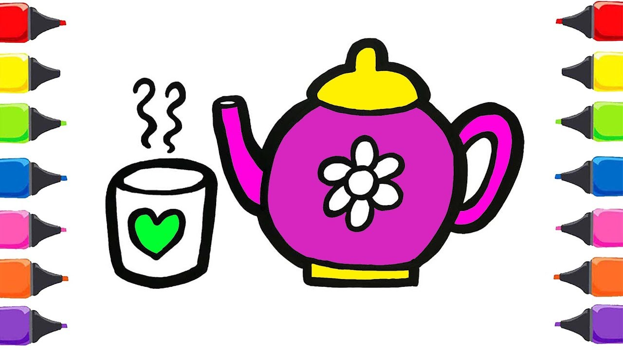 çaydanlık Ve Bardak Boyama Renkleri öğreniyorum Sihirli Kalemler