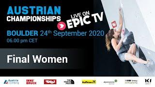 Austrian Climbing Championships 2020 | WOMEN'S BOULDER FINAL
