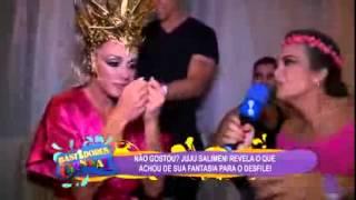 Bastidores do Carnaval Juju Salimeni fala sobre o dedinho do pé machucado 13/02/2015