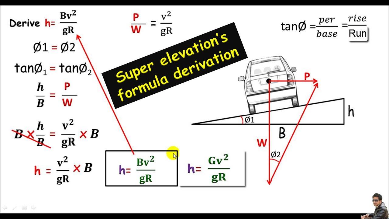 Land Survey:- Super elevation or Road bending formula derivation