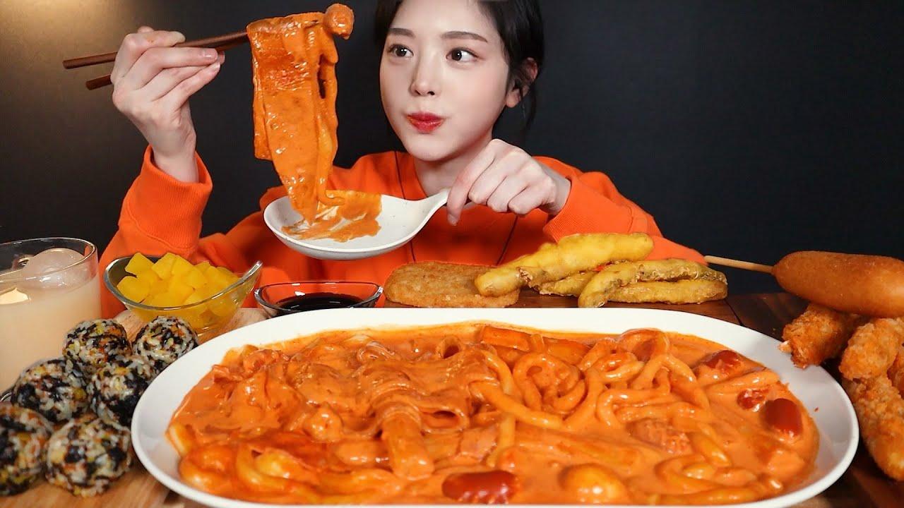SUB)요청폭발 배떡 로제떡볶이 먹방!도대체 뭐길래,,🔥분모자 중국당면 핫도그 새우튀김 주먹밥까지 리얼사운드 Rose tteokbokki mukbang asmr