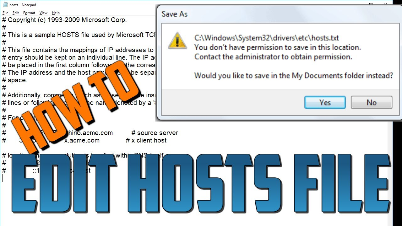 How to edit Hosts file - You don't have permission to save in this location