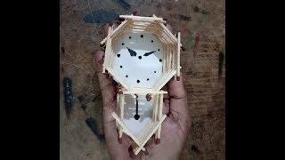DIY: How to make pendulam wall clock with match sticks- miniature craft