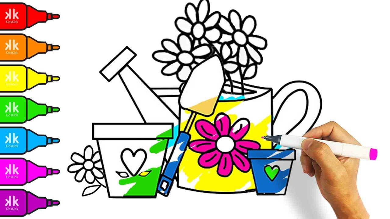 Coloring Book Drawing Flower Pot | Coloring Pages for Kids to ...