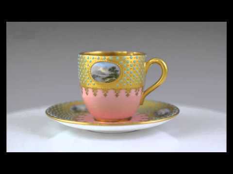 Beautiful English Porcelain Demitasse Cup & Saucer by Coalport  53200 Cup & Saucer
