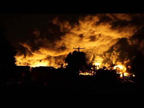 Here's video of billowing fire the night of the Lac-Mégantic derailment.
