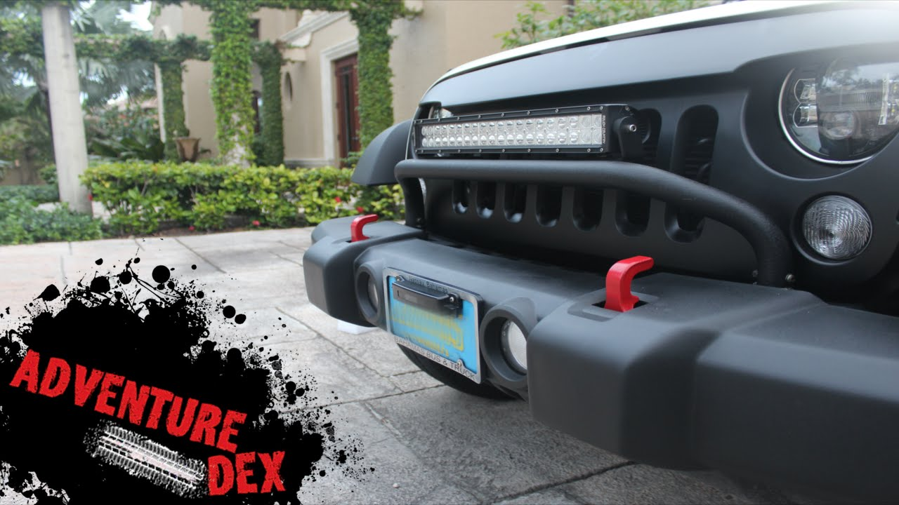 Jeep wrangler bull bar by rugged ridge youtube mozeypictures Images