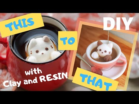 DIY Kawaii Marshmallow Cat in Coffee Photo Holder | Resin and Polymer Clay