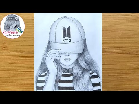 How to draw a Girl with Cap for beginners || Drawing of a Girl with BTS cap || Pencil Drawing