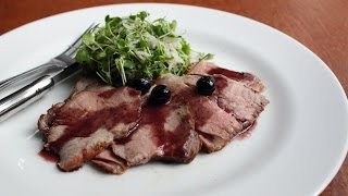 Pork Roast with Blueberry Port Sauce - Pork Shoulder with Port Wine and Fresh Blueberries
