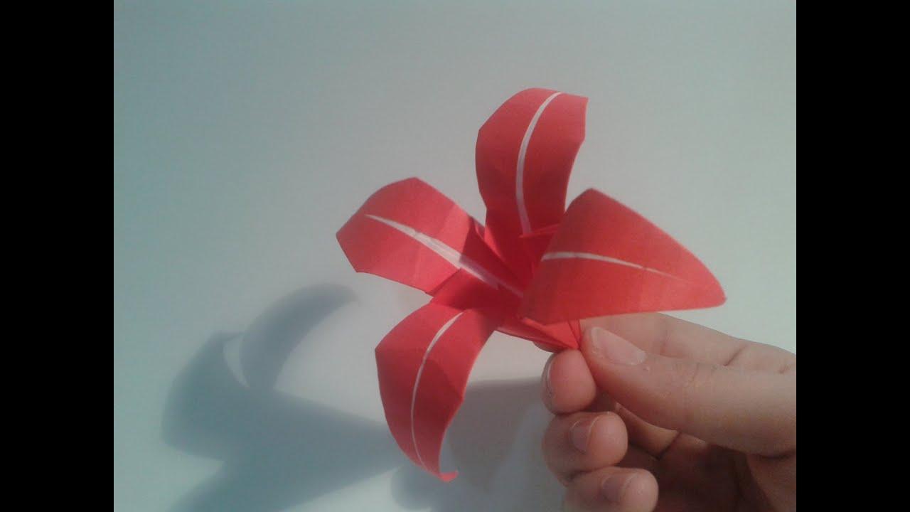 Como hacer un lirio de papel flor de origami youtube - Como hacer flores ...