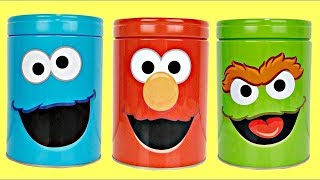 Sesame Street Counting with Elmo and the Cookie Monster Coin Banks Pretend Play!