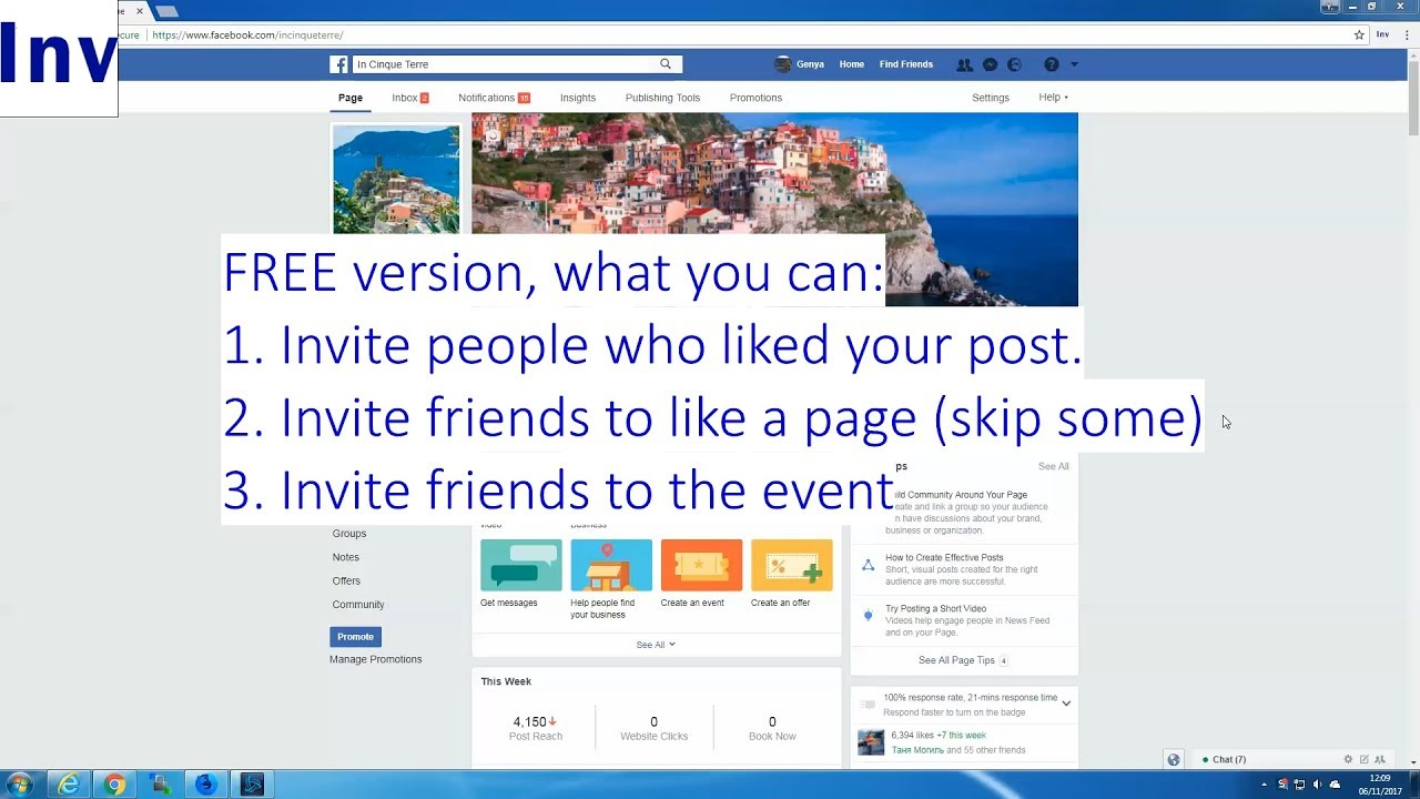 Increase likes on Facebook page: script to invite Friends and Fans to follow FB Page