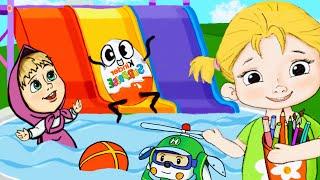 Новый мультик для детей про Машу и Аню/Катаемся с разноцветной горки, купаемся в бассейне с друзьями
