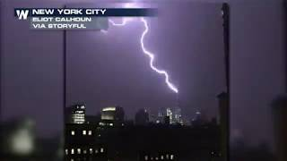Lightning Lights up NYC Skyline, Strikes Freedom Tower