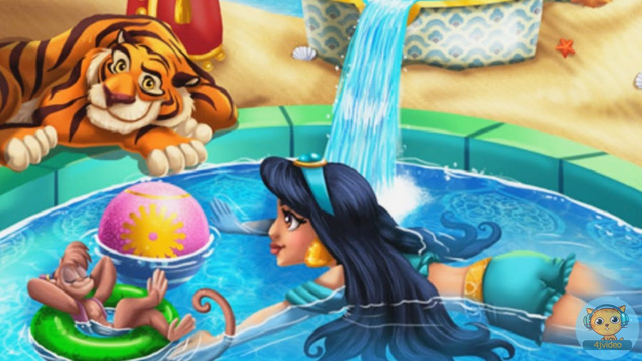 Jasmine Swimming Pool Disney Princess Games Videos For Kids And Girls 4jvideo Youtube