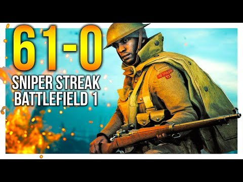 BF1 61-0 *RECORD* PERFECT SNIPER GAME Battlefield 1 Ross MKIII Gameplay