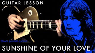 """How to play - Eric Clapton (Cream) """"Sunshine Of Your Love"""" Guitar Solo - Part.1 