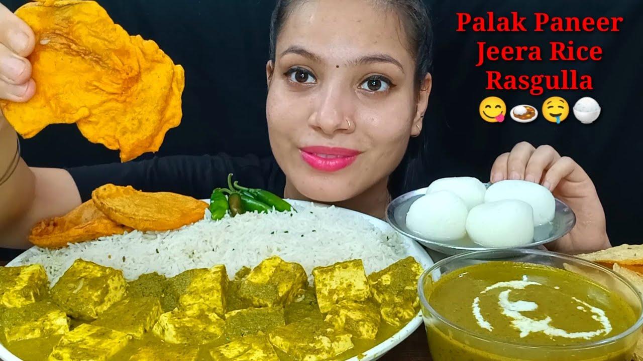 Eating Lots Of Palak Paneer, Jeera Rice, Rasgulla   Big Bites   Food Show   Indian food Mukbang