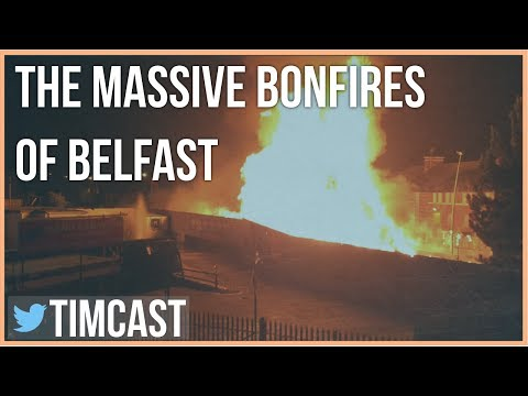 MASSIVE BONFIRES LIT IN NORTHERN IRELAND