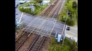 Impatient HGV driver smashes and damages level crossing barrier