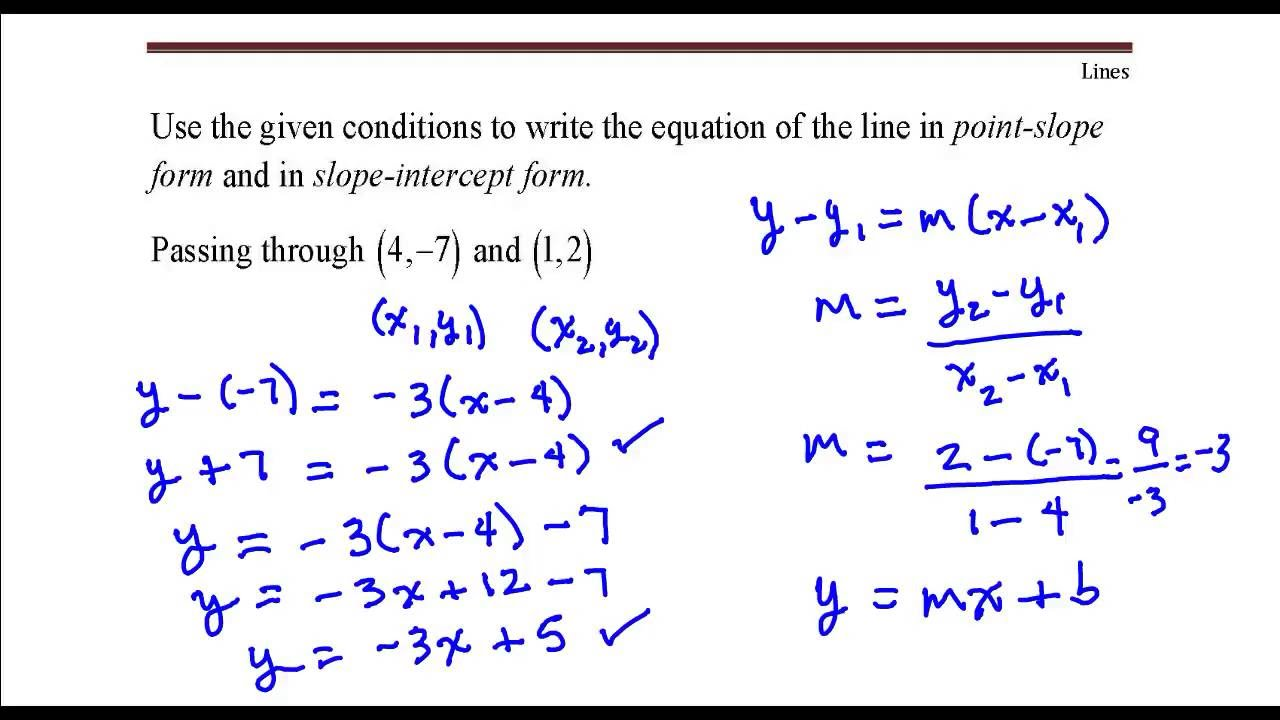 write the equation of the line Determining the equation of a line from a graph 5 write the slope-intercept form of the equation of the line described.