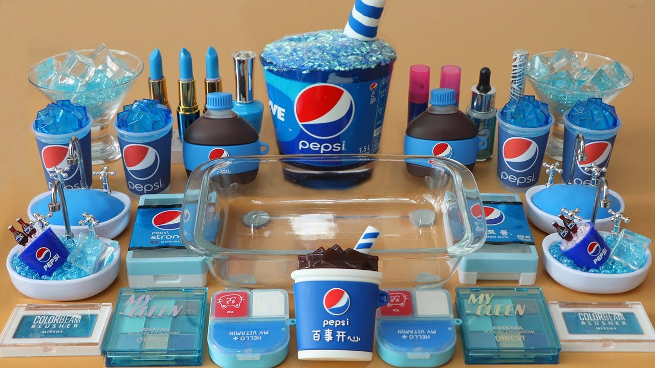 "Mixing""Pepsi"" Eyeshadow and Makeup,parts,glitter Into Slime!Satisfying Slime Video!★ASMR★"