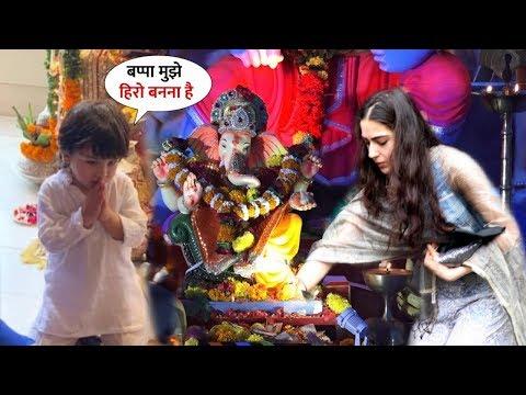 Taimur and Sara Ali Khan Ganesh Puja, Shouting Ganpati Bappa Morya 2019 | Many Celebs Take Blessing Mp3