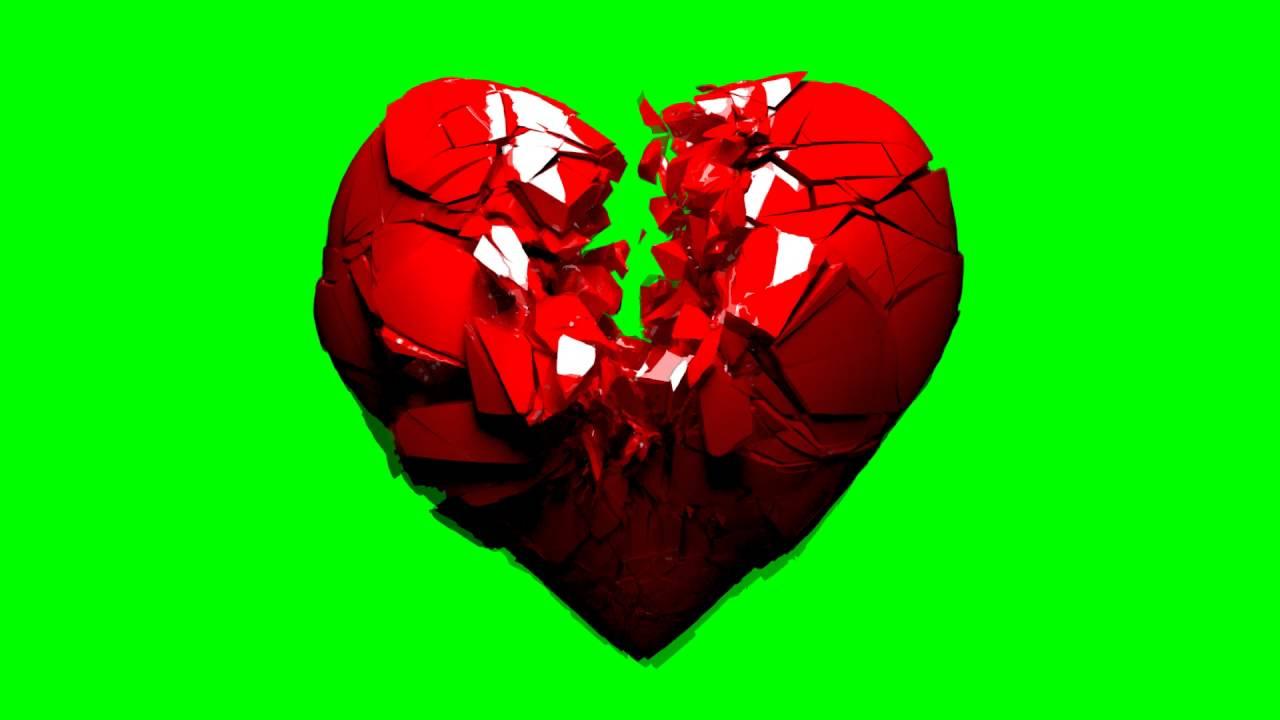free hd green screen broken shattering 3d heart youtube