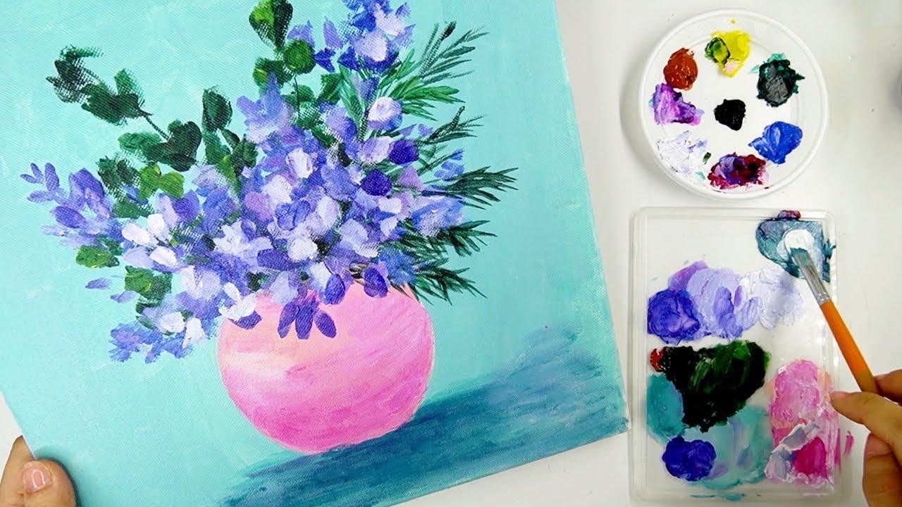 Hướng dẫn vẽ Lọ Hoa bằng màu Acrylic – Vẽ tranh tĩnh vật