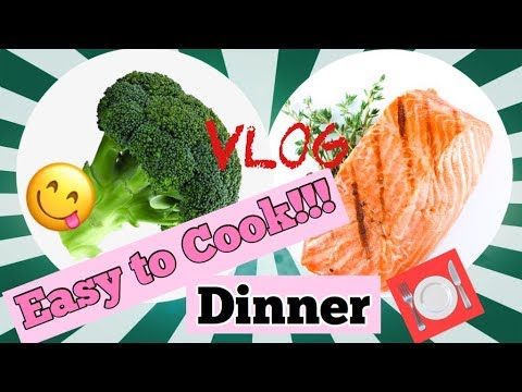 Salmon And Broccoli With Garlic For Dinner/ Easy To Cook