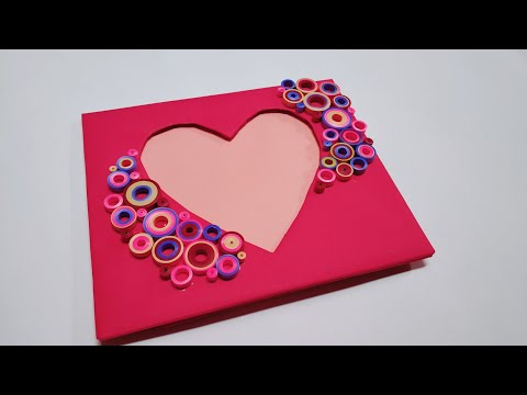 Heart Shape Easy and Beautiful Quilling Photo frame / Quilling Paper Art Photoframe