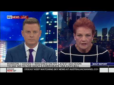 Pauline Hanson breaks down on The Bolt Report with Ben Fordham