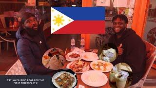 TRYING FILIPINO FOOD FΟR THE FIRST TIME!Crispy pata, Halo Halo, Adobong Manok, Pancit, Lechon.Part 2