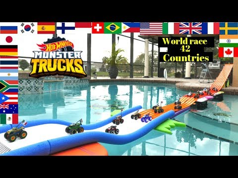 Hot Wheels Monster Truck World Race Battle Of The Countries Swimming Pool Edition Tournament