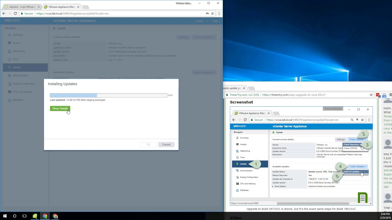 How to easily update your VMware vCenter Server Appliance from 6 5 x to 6 5  Update 1g (VCSA 6 5 U1g)